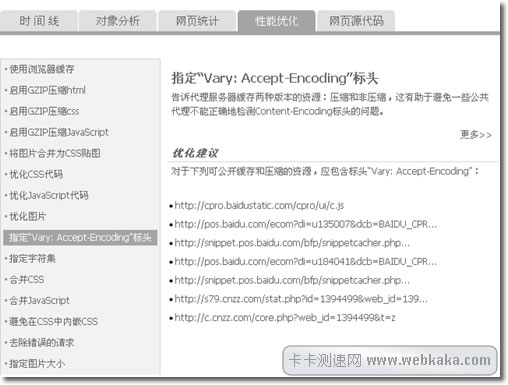 "指定""Vary:Accept-Encoding""标头"