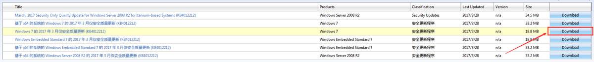 Windows 7 安全更新程序(KB4012212) 下载