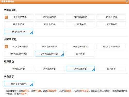 中国联通4G组合套餐资费